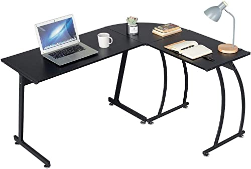 Topeakmart L-Shaped Corner Computer Desk Writing Table for Office Home, Wood Large 3-Piece PC Laptop Table Workstation, Black