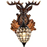 Deer Head Wall Lamp 1 Light Rural Countryside Antler Wall Sconce