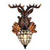 Deer Head Wall Lamp 1 Light Rural Countryside Antler Wall Sconce