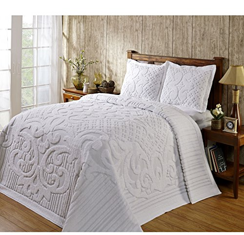 1 Piece White Oversized Chenille Bedspread King, Coastal Solid Color Medallion Pattern Extra Long Wide Drapes Over Edge Drops Down To The Floor Oversize Bedding Flower Shabby Chic Warm Cozy, Cotton (King Oversized Size Bedspreads Chenille)