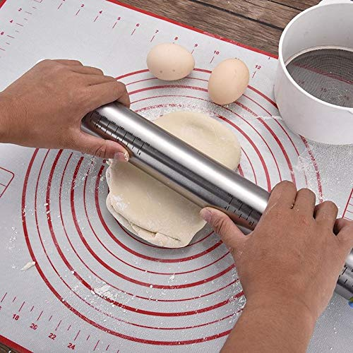 Rolling Pin,Roller for Baking with Silicon Baking Pastry Mat and Adjustable Tickness Rings, Non-Stick Mat with Measurements,Stainless Steel Rolling Pin 17 Inches for Pasta, Cookies, Pie, Pizza Dough