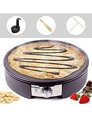 Duronic PM152 Crêpière de 1500W avec plaque antiadhésive de 37 cm – Accessoires inclus - Température ajustable - Idéal pour faire des crêpes, pancakes, galettes, omelettes