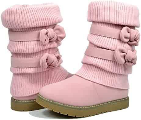 DREAM PAIRS Girls Toddler/Little Kid/Big Kid Faux Fur Lined Mid Calf Winter Snow Boots