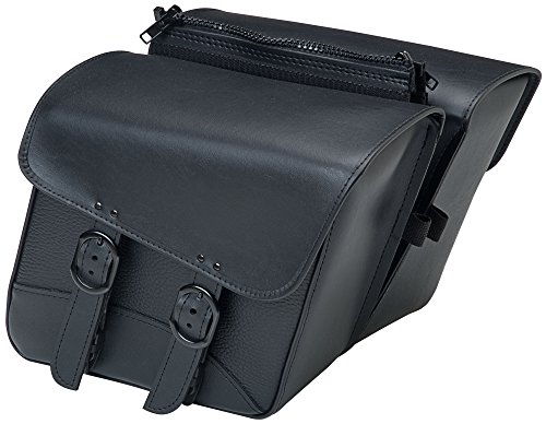 Willie & Max by Dowco 59588-00 Black Jack Series: Synthetic Leather Compact Slant Motorcycle Saddlebag Set, Black, Universal Fit, 10 Liter Each/20 Liter Total Capacity - Willie And Max Bag