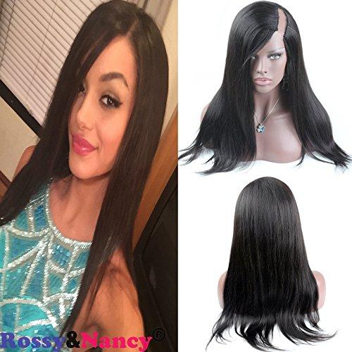 Rossy&Nancy Brazilian Virgin Hair 100% Remy Indian Human Hair U Part Slik Straight Wigs For Black Women Left Part 130% Density Natural Black Color 12inch (U Part Wig Human)