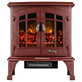 Jasper Portable Free Standing Electric Fireplace Stove by e-Flame USA – 23-inches Tall – Rustic Red – Features Heater and Fan Settings with Realistic and Brightly Burning Fire and Logs