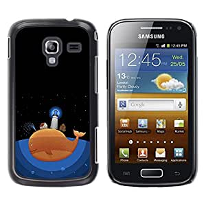 Be Good Phone Accessory // Dura Cáscara cubierta Protectora Caso Carcasa Funda de Protección para Samsung Galaxy Ace 2 I8160 Ace II X S7560M // Ocean Cartoon Drawing Lighthouse