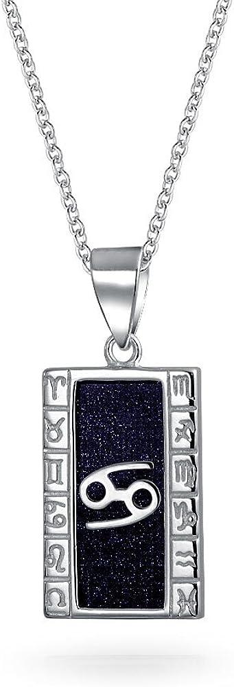 Collar con colgante de signo del zodiaco para mujer y hombre, plata de ley 925, diseño de horóscopo celestial, color azul marino