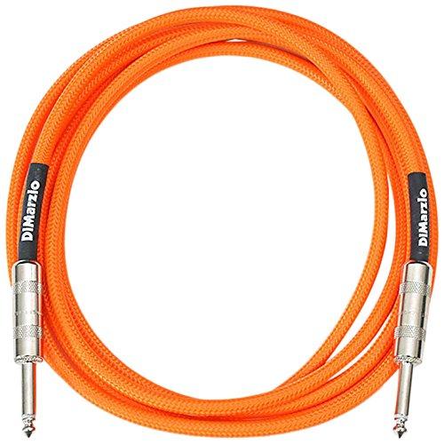 DiMarzio Neon Overbraid Instrument Cable Orange 10 - Guitar Cable Neon Orange