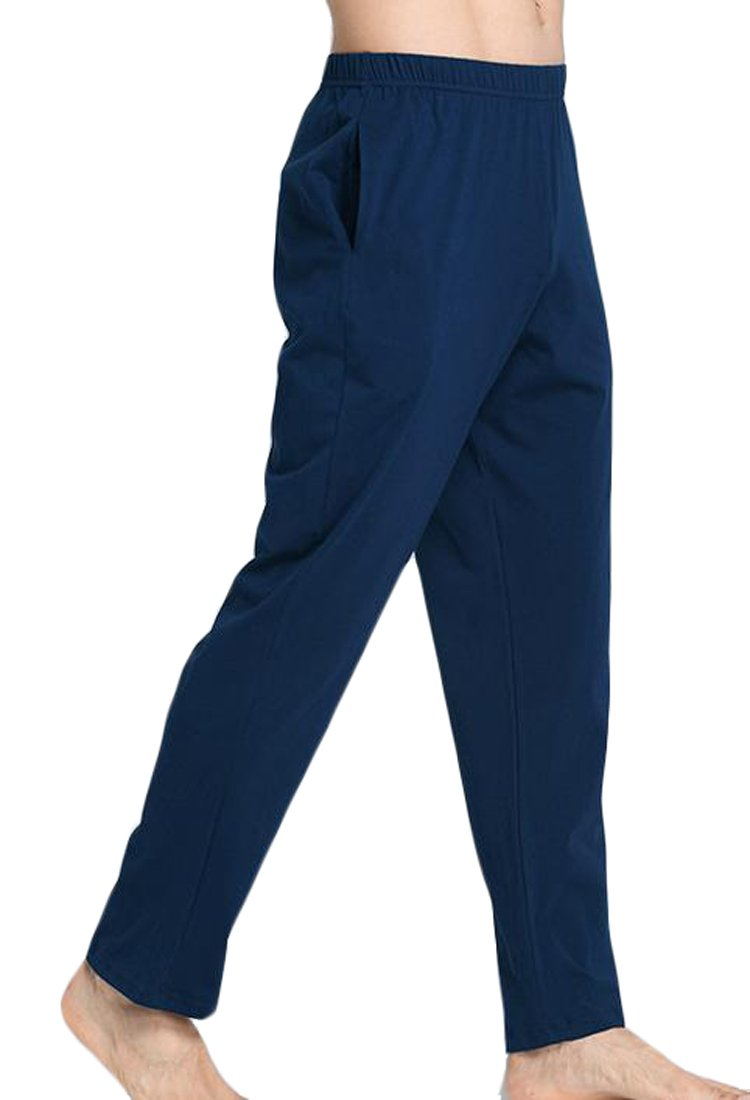 ARRIVE GUIDE Mens Loose Solid Elastic Waist Yoga Sleep Lounge Pants jewelry blue M