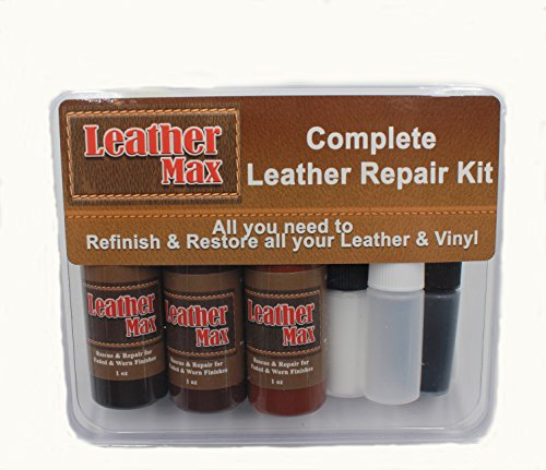 Match Brown Vinyl Leather (Furniture Leather Max Complete Leather Refinish and Repair Kit/Now with 3 Color Shades to Blend with/Leather & Vinyl Restorer (Deep Browns))
