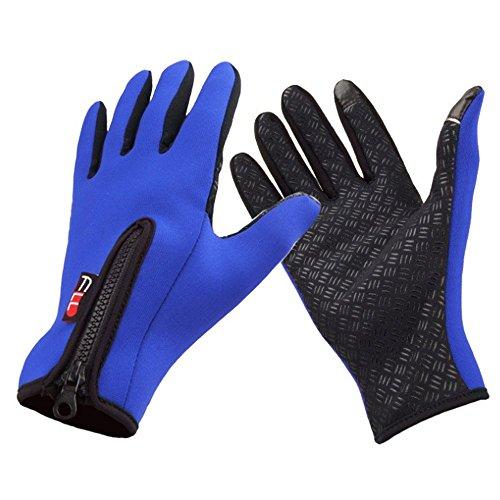 明日手つかずの新鮮なSODIAL(R) スノーボード スキー 乗り サイクリング 自転車 スポーツ 手袋 屋外 防風 冬の熱暖かいタッチスクリーン シリコーン パーム ユニセックス ブルー S