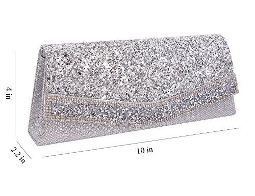 Clutch 1 Bag Prom Women Evening Party Cocktail Bag Wedding Bag Shiny silver Purse Batique Rhinestone wp6F1x0qw