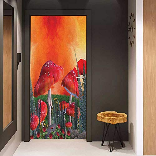 Glass Door Sticker Decals Mushroom Mushrooms Magic Place Imaginary Clouds Clipart Leaves Poppies Spellbound Door Mural Free Sticker W36 x H79 Orange Red -