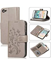 Miagon Zipper Case for iPhone 6/6S,Magnetic Closure Wallet Pocket Kickstand Card Holder Folio Butterfly Flower Embossing PU Leather Flip Case Cover,Gray