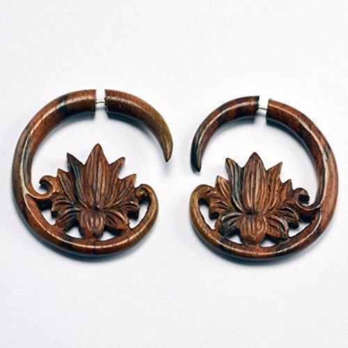 Fake Wooden Plug Hanging Tapers *D020 Fake Gauge Wood Earrings Fake Gauged Hanging Sono Wood Plug Earrings