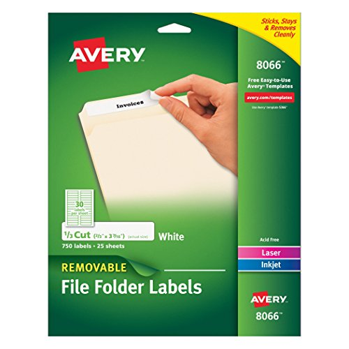 Avery Removable White File Folder Labels, 750 Pack (Avery Removable Label)