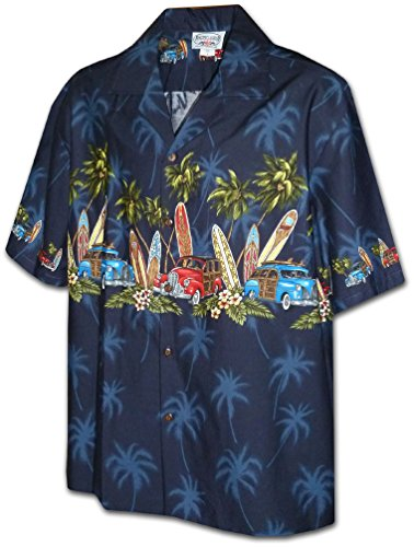 Surf Camp Shirt - Pacific Legend Boys Woodie Surfboard Shirt NAVY M