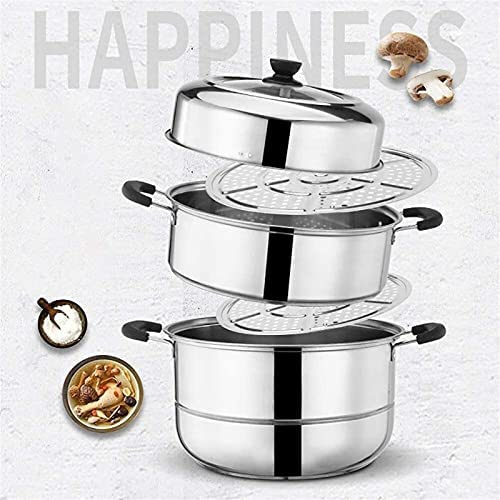 """51chJMfQkXS. AC Pans for cooking Glass Lid Steamer Food Steamer Set 3 Tier Cooking Stainless Steel Steamer Induction Cooker General Gas Pot (Size: 28cm) (Size : 32cm) (Size : 28cm)    """"Welcome to our mallHappy shopping!Our products have been thoroughly tested, inspected and packaged before delivery.If you have any questions, please feel free to contact us so that we can provide you with the best service.""""NJOLG is committed to providing premium and long-lasting cookware, which inspires your passion for cooking.Heating method: charcoal cooker induction cooker gas cooker electric ceramic cooker, etc.?Easy to clean Safe for health Comfortable handle to keep cold Suitable for all hobs, including induction does not absorb odors and flavors safe for children and allergy sufferers durable and heat resistant Electrolytic polishing treatment in the pot: anticorrosion resistant to wear hygienic and healthy.?Material: food grade stainless steel Product process: mirror polishing process Product features: steaming under the steam / time saving and energy saving Applicable scene: kitchen / restaurant etc.?Applicable cooker: universal The lid design: seeing cooking is easier to grasp the heat of the food.?Antioverflow vent hole: helps eliminate steam and effectively prevents burns on the hands.?Steaming sheet design with two pieces of steaming pads the pot is convenient and practical for steaming.?Freestanding steaming grill freestanding the design of the steaming grill also flows delicious and has no smell.?If you are not satisfied with our products, please feel free to contact us, we will contact you within 24 hours. For more related product details, please search for """"WFGS725S""""."""