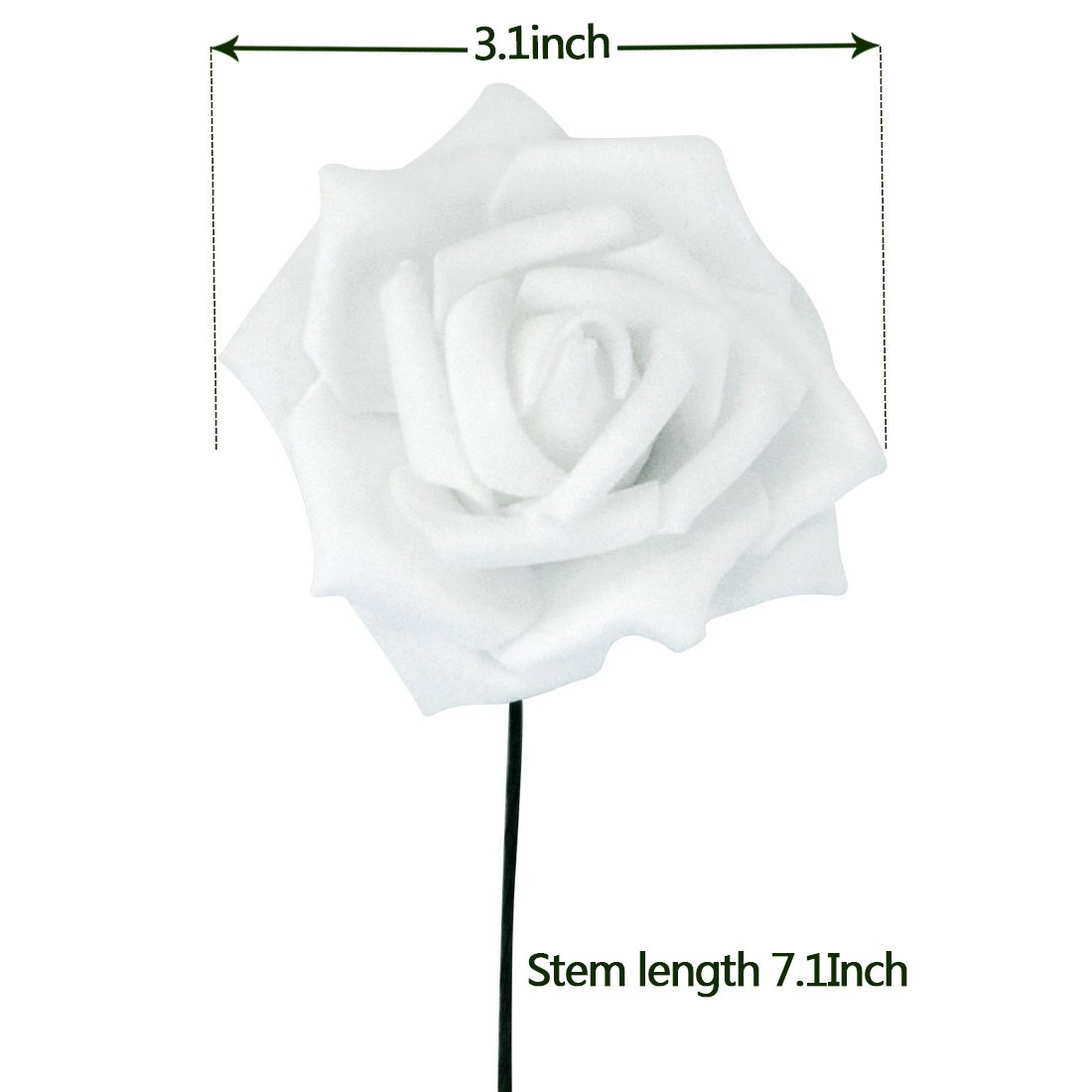 obmwang 50PCS White Foam Roses Flowers Real Touch Artificial Rose Flowers DIY 3D Wedding Bridal Bouquet Home Hotel Party Garden Floral Decor White