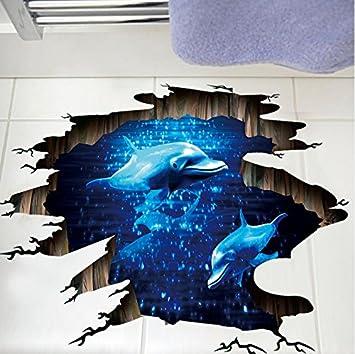 Mddjj 3D Dunkelblau Traum Delfin Bodenaufkleber Badezimmer ...
