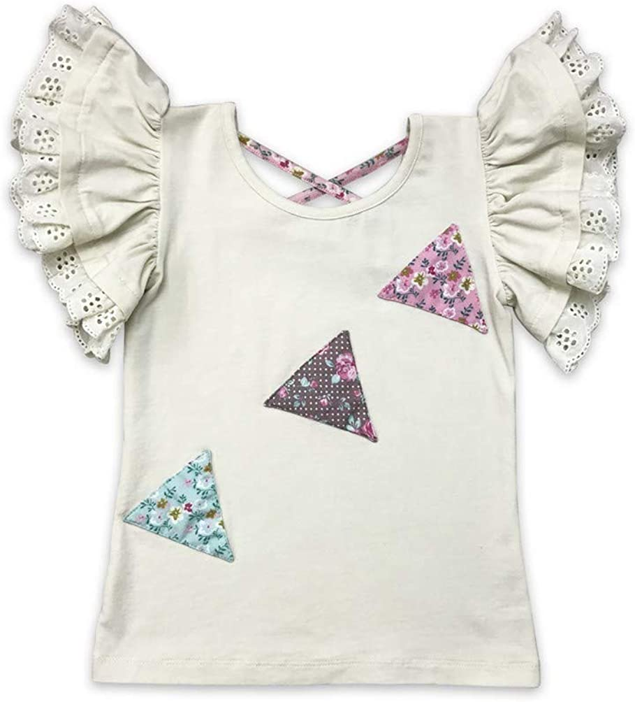 Mustard Pie Big Girls Pink Rustic Peony Triangle Detail Pippa Top 7-12