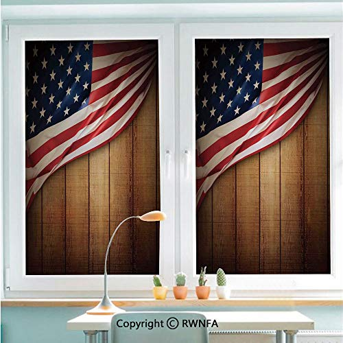 Non-Adhesive Privacy Window Film Door Sticker USA Design on Vertical Lined Retro Wooden Rustic Back Glory Country Image Glass Film 22.8 in by 35.4in(58cm by 90cm),Blue Red ()