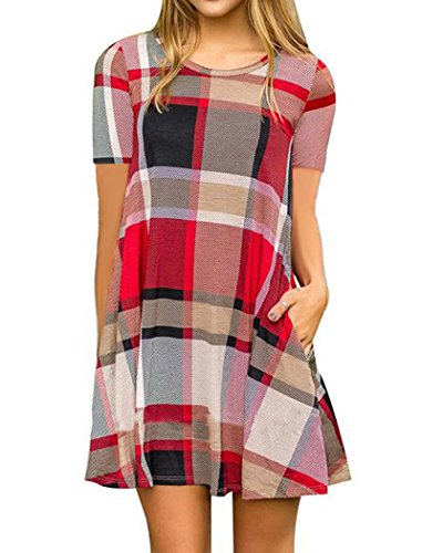 Halife Women Flare Plaid Swing Simple T-Shirt Loose Dress Tunic Mini Dress Red XL 1X