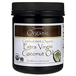Swanson Certified 100% Organic Extra Virgin Coconut Oil 1 lb (454 grams) Solid Oil