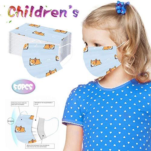 Allegorly 50PCS/100PCS Kinder Einweg 3-lagig, Washcloth Schutz für Kinder Kinder, mit süßem Dinosaurier-Druckmuster, Fashion Outdoor Elastic Ear Loop Schutz