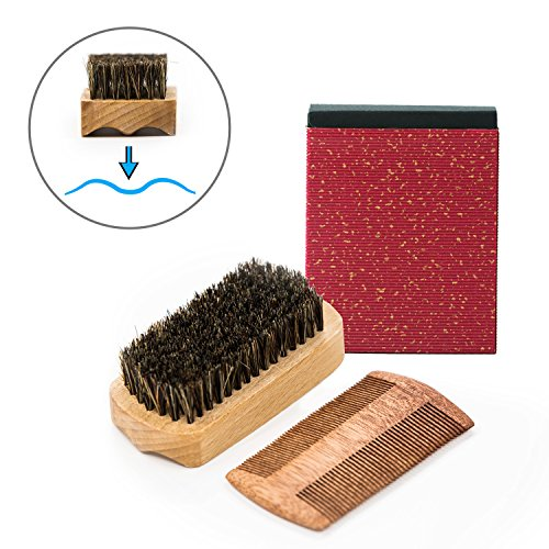 Nugilla Beard Brush and Comb Set for men - Handmade Wooden Comb and Natural Boar Bristle Beard Brush kit - Great for Grooming Beards & Mustache
