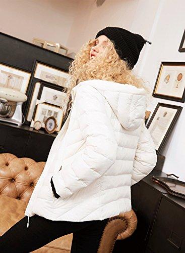 Verso Packable Bianca Il Sack Ultraleggero Elf Basso Piumino 90 Al Anatra Cappuccio Bianco All'aperto Caldo Donna Con RzqRxT