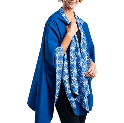 RainCaper Rain Poncho for Women - Reversible Rainproof Hooded Cape in Gorgeous Ultrasoft Colors (Navy & China Blue)