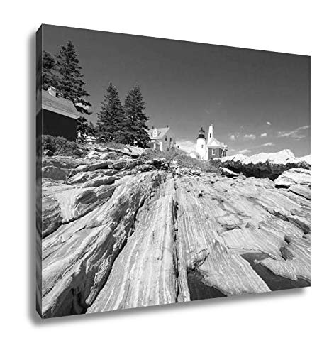 Ashley Canvas The Pemaquid Point Lighthouse, Wall Art Home Decor, Ready to Hang, Black/White, 16x20, AG6432376