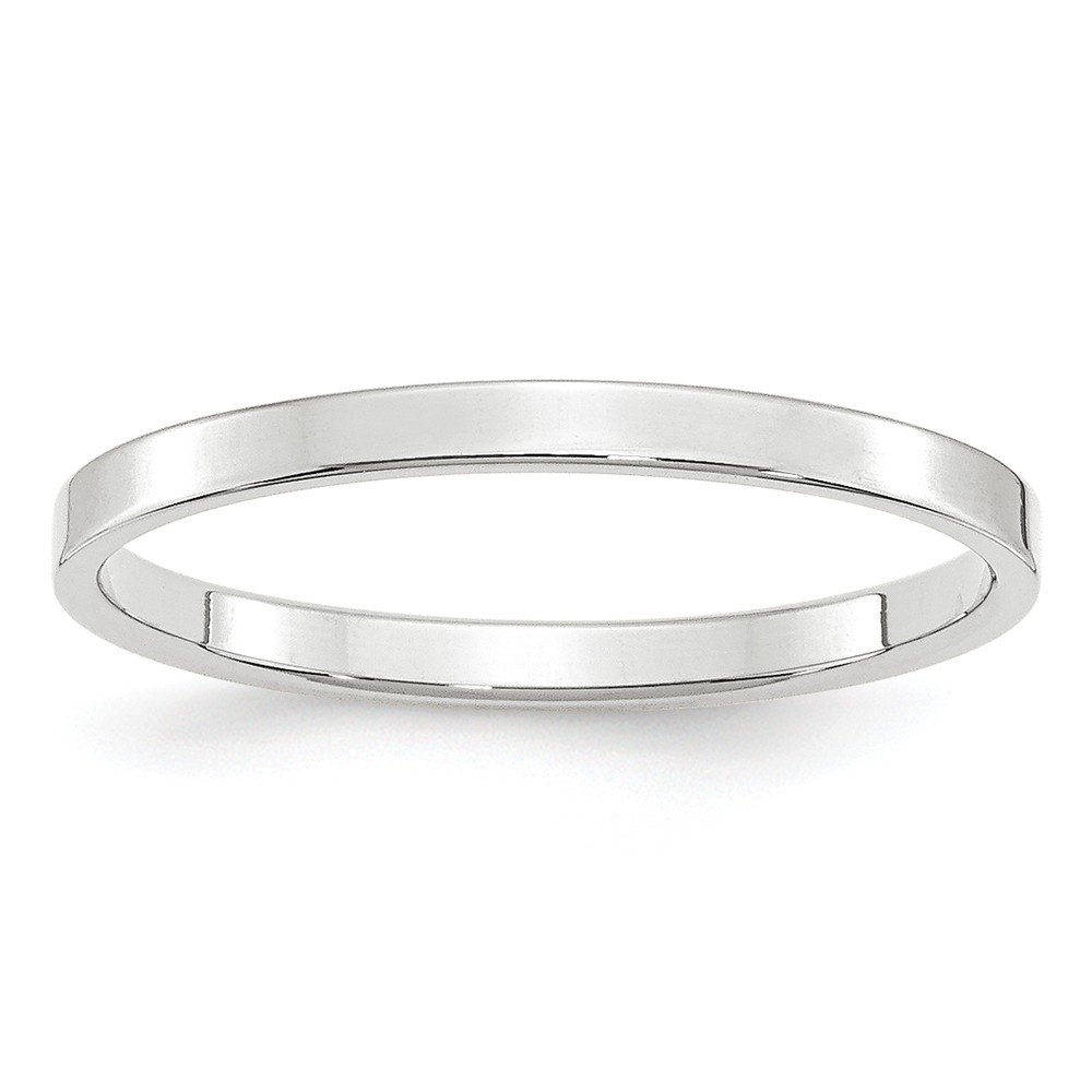 Jewelry Stores Network Solid 10k White Gold 2 mm Flat Wedding Band Ring by Jewelry Stores Network