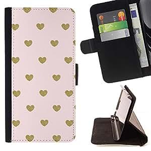 Momo Phone Case / Flip Funda de Cuero Case Cover - Fond d'écran d'or Polka Dot Coeur - Samsung ALPHA G850