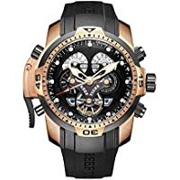 Whatsko Reef Tiger Mens Military Watches with Rubber Strap Sport Watch Complicated Automatic Watches RGA3503