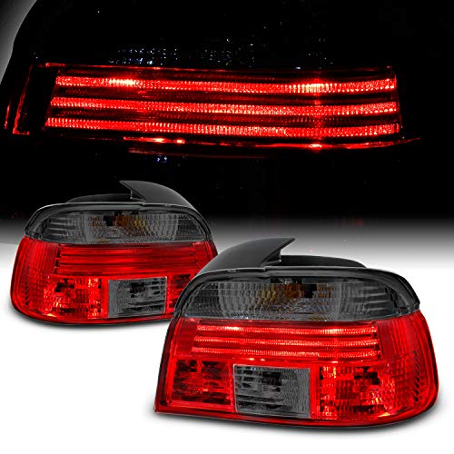 For 1997-2000 BMW 5-Series E39 Sedan Model Red Smoked Tail Brake light Assembly Driver and Passenger Side Pair