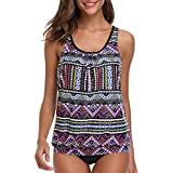 Women Two Pieces Tribal Printed Flyaway Tankini Top with Triangle Brief Swimsuit Black