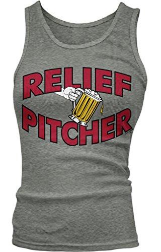 Amdesco Relief Pitcher, Beer Pitcher Juniors Tank Top, Deep Heather Medium