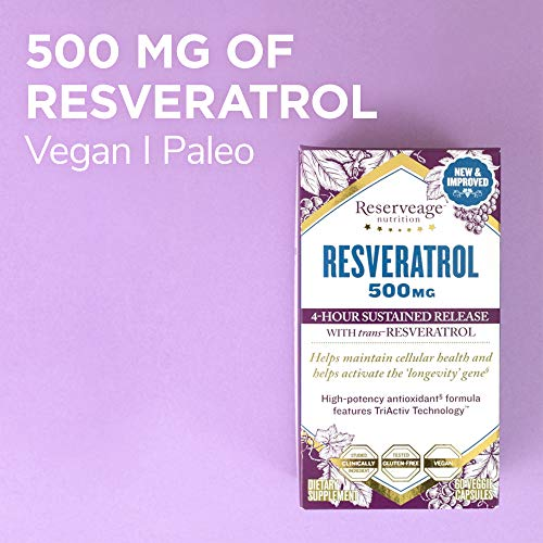 51chMhZz4qL - Reserveage, Resveratrol 500 mg, Antioxidant Supplement for Heart and Cellular Health, Supports Healthy Aging, Paleo, Keto, 60 capsules (60 servings)