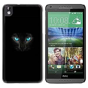 Carcasa Funda Prima Delgada SLIM Casa Case Bandera Cover Shell para HTC DESIRE 816 / Business Style Fierce Black Cat Panther Blue Eyes