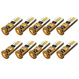 Yorkim 194 Led Bulb Amber Canbus Error Free 3-SMD 2835 Chipsets, T10 Amber Interior Led For Car Dome Map Door Courtesy License Plate Trunk lights with 194 168 W5W 2825 Sockets Pack of 10, Amber Yellow: more info