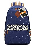 Leaper Casual Style Canvas Laptop Backpack/ School Bag/ Travel Daypack/ Handbag with Laptop Lining (FP-Dark Blue)