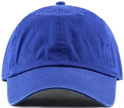MIRMARU Plain Stonewashed Cotton Adjustable Hat Low Profile Baseball Cap.(Royal ()