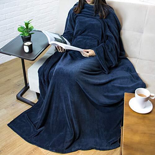 PAVILIA Premium Fleece Blanket with Sleeves for Adult, Women, Men | Warm, Cozy, Extra Soft, Microplush, Functional, Lightweight Wearable Throw (Navy, Kangaroo Pocket)