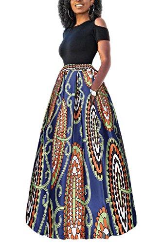 Yacun Las Mujeres Africanas Imprimir Una Linea Larga Coctel Vestido De Dos Piezas Colorful