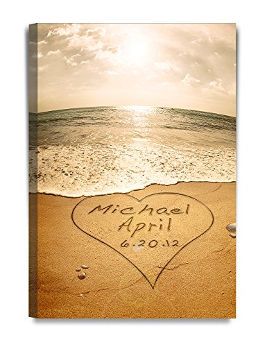 Art Name Personalized Prints (DecorArts - Sand Writing Personalized Art Canvas Prints Gift, includes Names and the Special Date - Perfect Gift for the Wedding Anniversary.)
