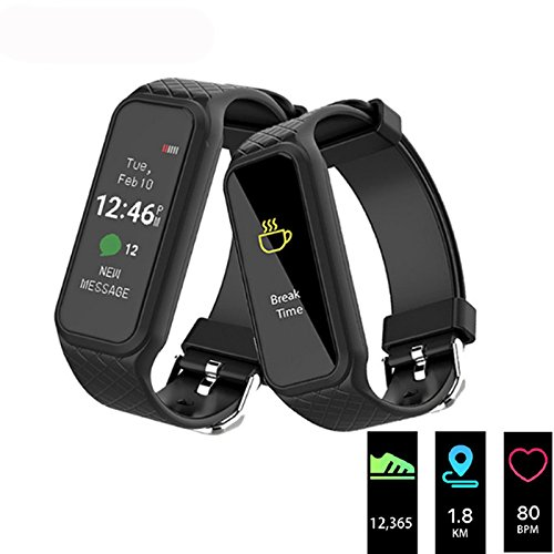L38i Fitness Tracker, Elftear Bluetooth Heart Rate Monitor Smart Bracelet Sports Activity Sleep Monitor IP67 Waterproof Wristband for Android iOS (Black)