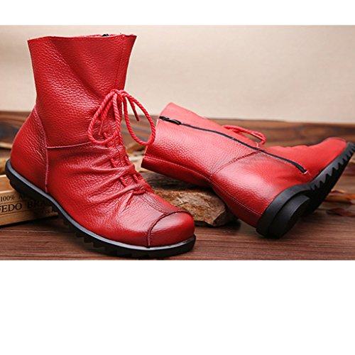 Eagsouni® Damen Stiefeletten Handgefertigte Schnürsenkel Lederstiefel Flach Leder Stiefel Mit Reißverschluss Rot-Fleece